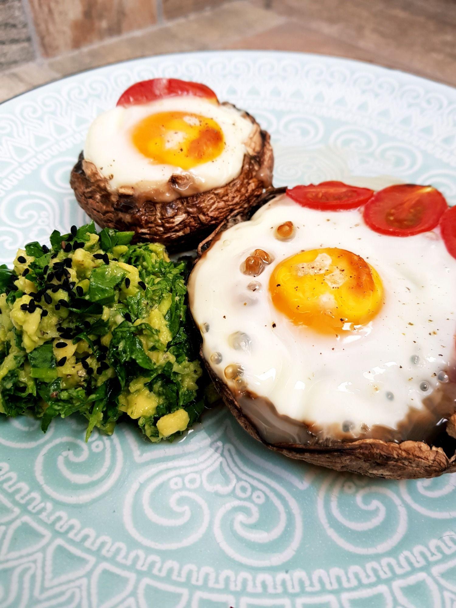 Portabello grybai su kiaušiniais