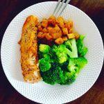 Lašiša su brokoliu ir sviestiniu moliūgu