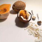 Avižos mirkytos kokosų piene ir gardinta moliūgu, cinamonu